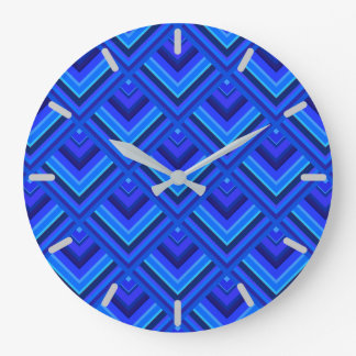 Blue stripes scale pattern wall clock