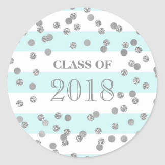 Blue Stripes Silver Confetti Grad Class 2018 Classic Round Sticker