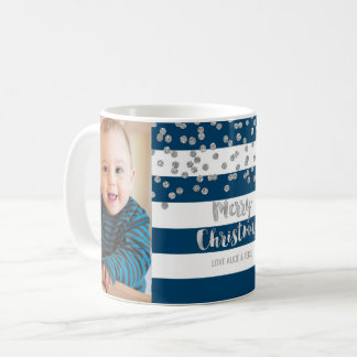 Blue Stripes Silver Confetti Photo Merry Christmas Coffee Mug