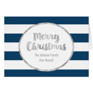 Blue Stripes Silver Merry Christmas New Address Card
