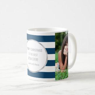 Blue Stripes Silver Photo Best Mom Christmas Coffee Mug