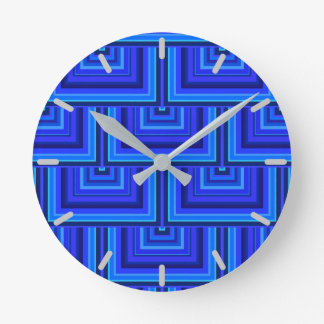 Blue stripes square scales pattern clock