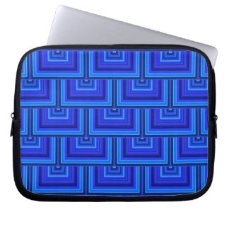Blue stripes square scales pattern laptop sleeve
