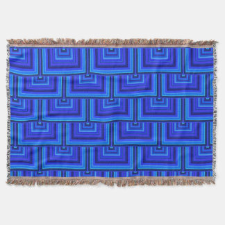 Blue stripes square scales pattern throw blanket