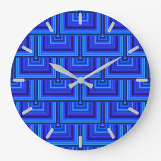 Blue stripes square scales pattern wallclock