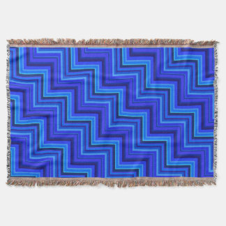 Blue stripes stairs pattern throw blanket