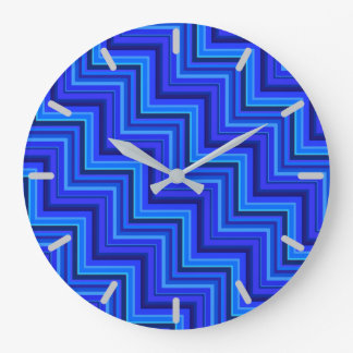 Blue stripes stairs pattern wall clock