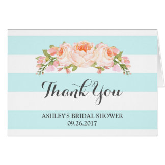Blue Stripes Watercolor Bridal Shower Thank You Greeting Card
