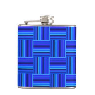 Blue stripes weave pattern hip flask