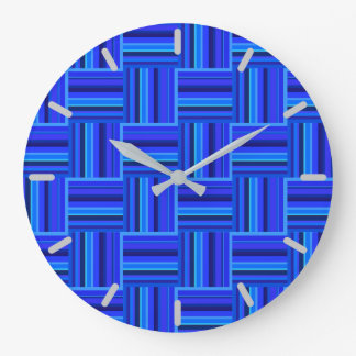 Blue stripes weave pattern wall clocks