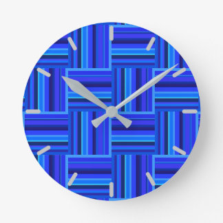Blue stripes weave pattern wallclocks