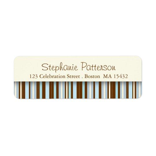 Blue Stripes Whimsical Return Address Label