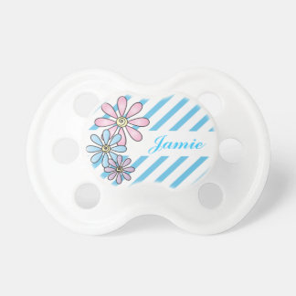 Blue Stripes with Flowers | Flowers Pacifier