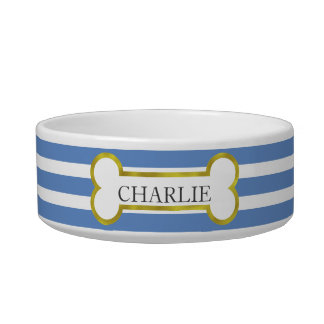 Blue Stripes with Gold Bone Personalized Pet Bowl