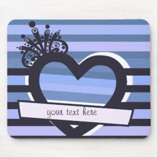 blue stripes with heart mousepad