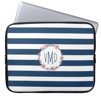 Blue stripes with red navy floral wreath monogram laptop sleeve