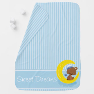Blue Stripes with Teddy Bear | Personalized Swaddle Blanket