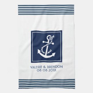 Blue Stripes With White Nautical Boat Anchor Kitchen Towels