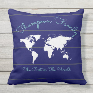 blue stripes with world map, best family throw pillow
