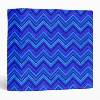 Blue stripes zigzag pattern 3 ring binders