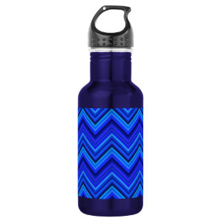 Blue stripes zigzag pattern 532 ml water bottle
