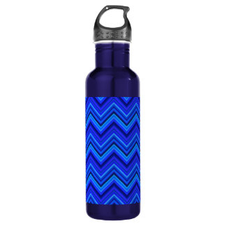 Blue stripes zigzag pattern 710 ml water bottle