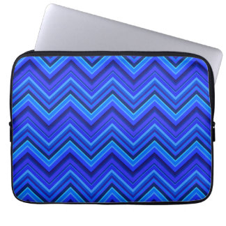 Blue stripes zigzag pattern laptop sleeve