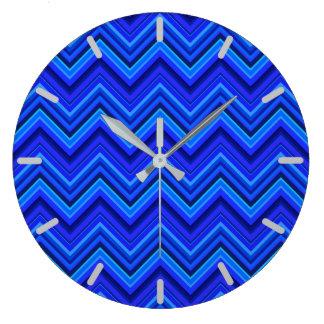 Blue stripes zigzag pattern large clock