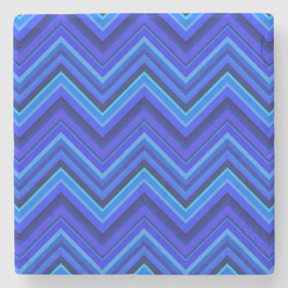 Blue stripes zigzag pattern stone coaster