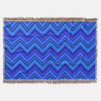 Blue stripes zigzag pattern throw blanket