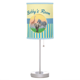 Blue Stripes Zoo Animal Boys Room Lamp