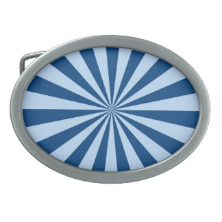 Blue Stripey Sun Burst Abstract Belt Buckles