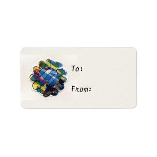 Blue Stripped Flower Address Label