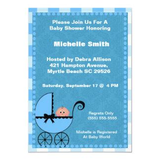 Blue Stroller Baby Shower Invitation