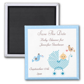 Blue Stroller & Birds Save The Date Baby Shower Square Magnet