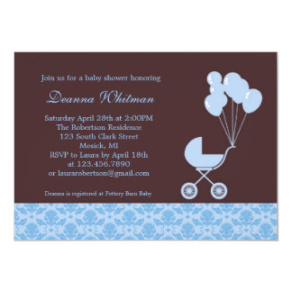 Blue Stroller with Balloons Baby Shower Invitation