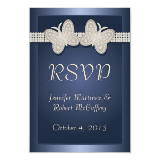 Blue Studded Butterfly Wedding RSVP Card