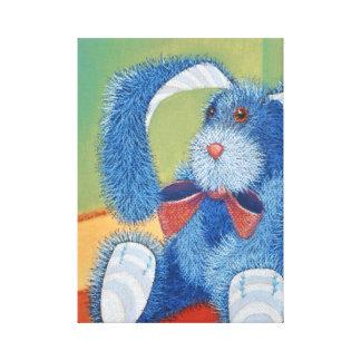 Blue stuffed bunny, rabbit canvas prints