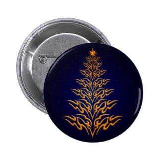 Blue Stylish Christmas Tree Button