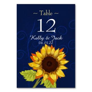 blue stylish sunflower table card