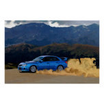 Blue Subaru STi Drifting in the Mountains Poster