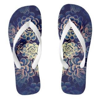Blue Succulent Flip Flops