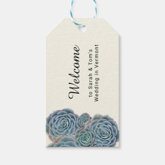 Blue Succulent Welcome Wedding Event Favor Tags