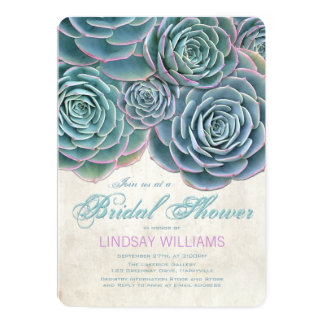 "Blue Succulents Country Bridal Shower 5"" X 7"" Invitation Card"