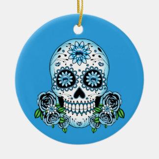 Blue Sugar Skull Ceramic Ornament