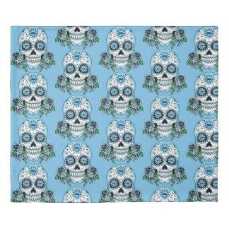 Blue Sugar Skull Duvet Cover