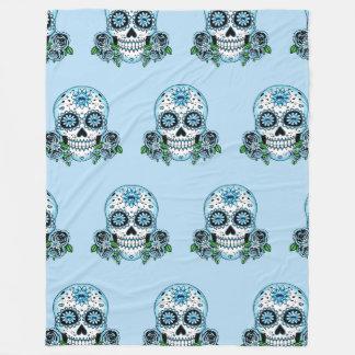 Blue Sugar Skull Fleece Blanket