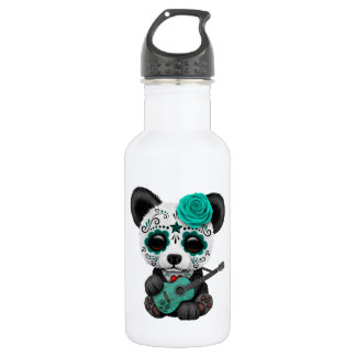 Blue Sugar Skull Panda Playing Guitar 532 Ml Water Bottle