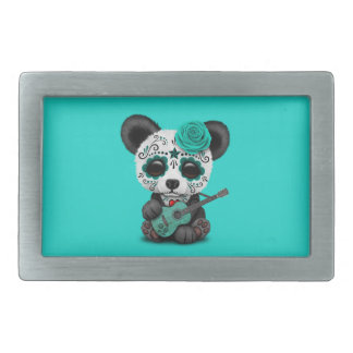 Blue Sugar Skull Panda Playing Guitar Belt Buckle