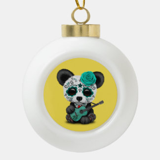 Blue Sugar Skull Panda Playing Guitar Ceramic Ball Christmas Ornament